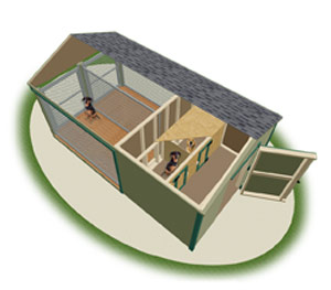 large double animal kennel inside