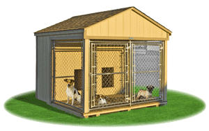 medium double animal kennel outside